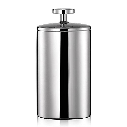 Uong Manuelle Milchaufschäumer, 200ML Edelstahl Double Mesh Pumpe Milch Kaffeeaufschäumer Milch Milchkännchen Milchschaum Silber