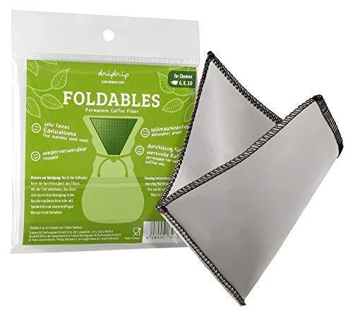 dripdrip FOLDABLES Dauerfilter für Pour Over Kaffee aus feinem Edelstahlnetz für Chemex, 6, 8 oder 10 Tassen