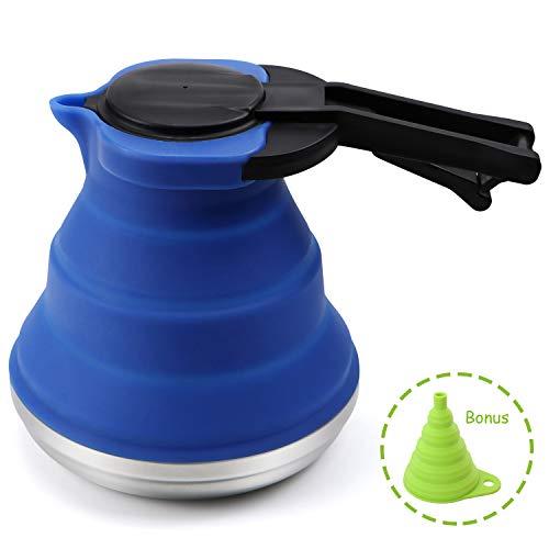 HULISEN Tragbar Silikon Zusammenklappbar Wasserkocher, Outdoor Camping Reise Wasserkocher faltbar, 1.5l mit gratis Gift-Silicone Trichter Blau