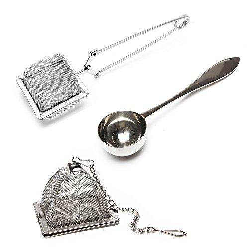 3-teilig – teefilter für losen tee – VAHDAM, 2 tea infuser, teesieb und 1 teelöffel |100% Edelstahl, Hochwertigste tea strainer | Quadratische tee sieb, Dreieckige Teekanne und perfekter Servierlöffel