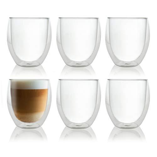 Caffé Italia Roma 6 x 250 ml Doppelwandige Gläser – spülmaschinengeeignet – Thermogläser für Cappuccino Tee Heiß- und Kaltgetränke