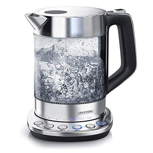 Glas Wasserkocher mit Temperatureinstellung   Warmhaltefunktion 30min   1,5 Liter Füllmenge   Borosilikatglas   Basisstation aus Edelstahl   mit Filter   Modernes Design   BPA Frei