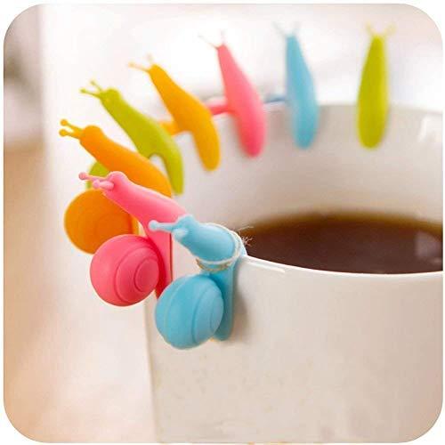 Hängende Teebeutel neue nette bunte Schnecken Form Silikon Halter Schalen Becher Süßigkeit Farben Geschenk Satz 24pcs 24 pcs