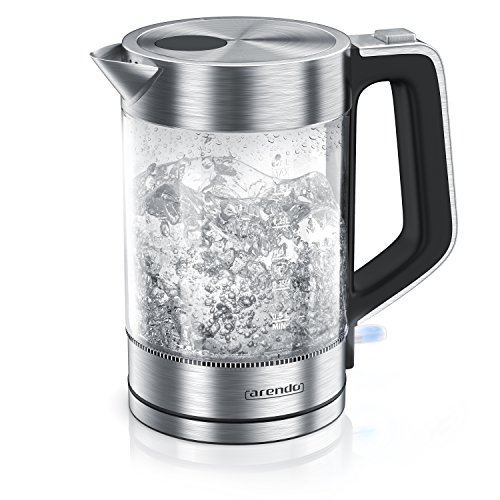 Glas Wasserkocher Edelstahl   1,7 Liter   2200W   Cool-Touch-Griff   One Touch-Verschluss   Automatische Abschaltung   Integrierte Kabelführung   Überhitzungsschutz – Arendo