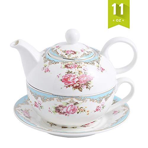 MALACASA, Serie Sweet.Time, Porzellan Teeservice Teeset 4 teilig Set Teekanne mit Tasse und Untersetzer Blumen-Motiv Teekannen & Kaffekannen