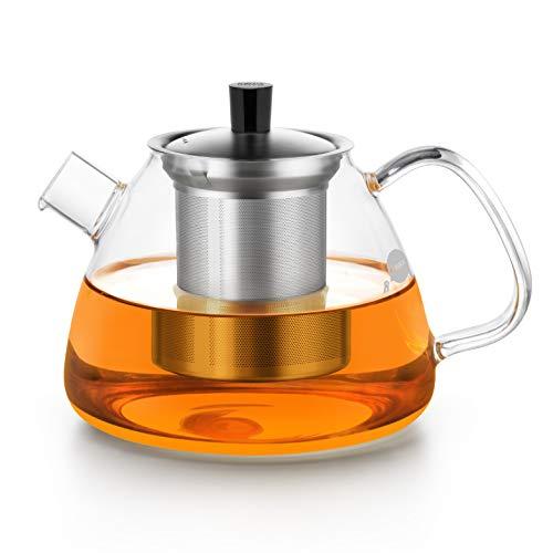 1100ml Fassungsvermögen für losen Tee oder Beutel – 1100ml Volumen – Kanne aus Borosilikat Glas mit Filter bis 130°C – FRIEDOS Tee – Teekanne mit Edelstahl Sieb und Deckel