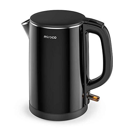 Miroco Wasserkocher, Elektrischer Wasserkessel 1,5L Edelstahl Teekessel 2150W Elektrische Kanne, Trockengehschutz, BPA-Frei, Schwarz