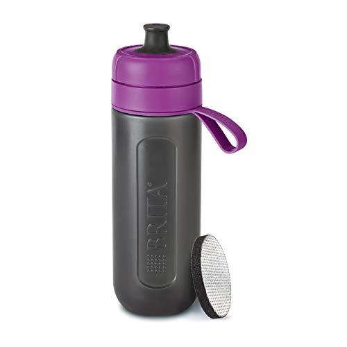 Robuste Sport Trinkflasche mit Wasserfilter für unterwegs aus BPA-freiem Kunststoff – Zusammendrückbar – BRITA Wasserfilter-Flasche fill&go Active Lila