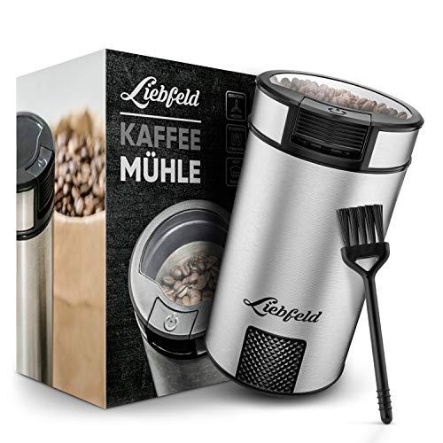 Coffee Bean Grinder, Nussmühle – Elektrische Kaffeemühle für genussvollen Geschmack – Liebfeld® 200W Edelstahl Kaffemühle mit kompaktem Design