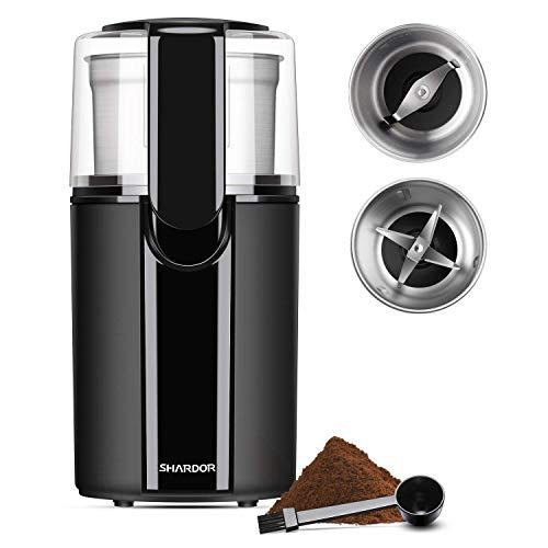 SHARDOR Kaffeemühle Elektrische Kaffeemühle 200W 70g Fassungsvermögen für Kaffeebohnen Nüsse Gewürze Getreide Kräuter Mühle mit 2 abnehmbare Edelstahlbehälter