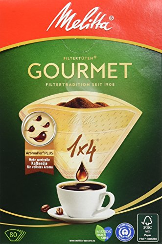 Melitta Gourmet Filtertüten, AromaporenPlus, Naturbraun, 4er Pack 4 x 80 Stück