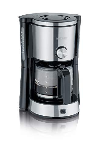 SEVERIN KA 4825 Type Switch Kaffeemaschine Für gemahlenen Filterkaffee, 10 Tassen, Inkl. Glaskanne edelstahl/schwarz