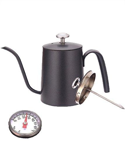 Suliko Kaffeekannen Tropfkessel mit Thermometer Kaffee Wasserkocher Handbrush Tropftee Topf mit Schwanenhals Auslauf, 600ML