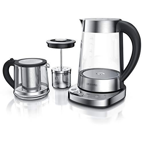 Glas Wasserkocher mit Temperatureinstellung und Teesieb sowie Aufsatz | Türkischer Teekocher | Edelstahl | Temperaturen: 70°C 80°C 100°C | 1,7 Liter | 2400 Watt | Abschaltautomatik – Arendo