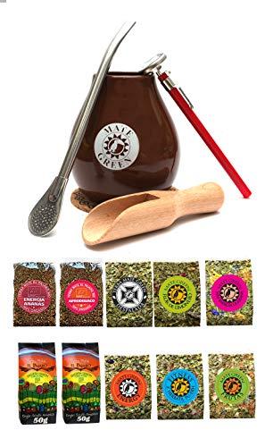 Mate Green Starter Satz für Mate Tee Trinken: Becher, Bombilla Trinkhalm 19cm, Schaufel, Korkscheibe, Thermometer und Mate-Tee Proben Kit
