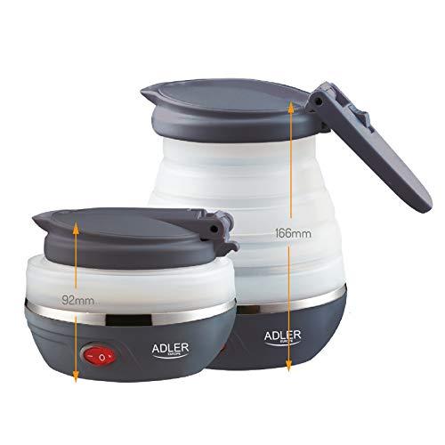 Adler AD 1279 Elektrischer Reisewasserkocher aus Silikon 0,6L ,750 W Leistung Faltbar