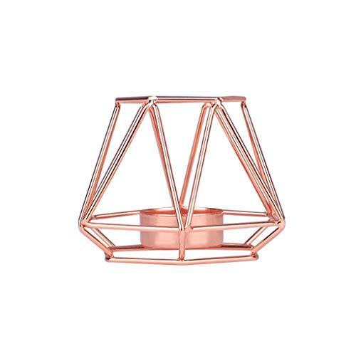 TianranRT Nordisch Stil Schmiedeeisen Eisen Geometrisch Kerze Halter Zuhause Dekoration Metall Kunsthandwerk Roségold,S