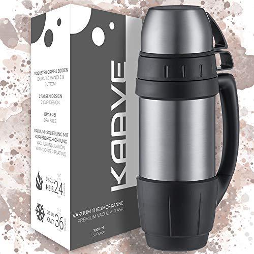 """KAAVE Robuste Thermoskanne """"bigBoy"""" – 1 Liter   Isolierte Premium Thermosflasche aus Edelstahl für heiße Getränke wie Kaffee & Tee   Inkl. 2 Trinkbechern"""