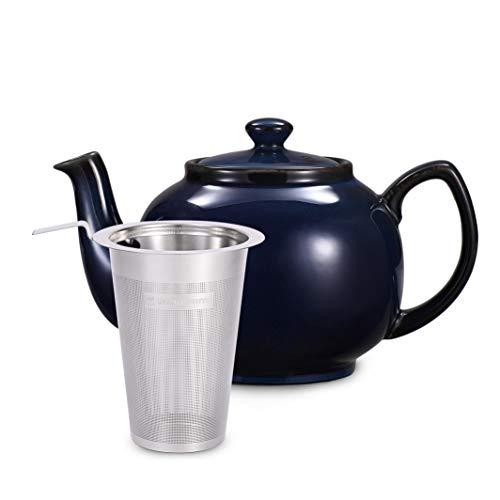 Urban Lifestyle Teekanne/Teapot Klassisch Englische Form aus Keramik mit Nicht-tropfendem Ausguss Cambridge 1,6L mit Teefilter aus Edelstahl Marineblau