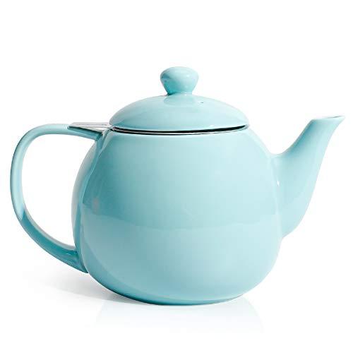Sweese 221.102 Teekanne mit Nicht-tropfendem Ausguss und Edelstahlsieb, Porzellankanne, Helltükis, 750 ml