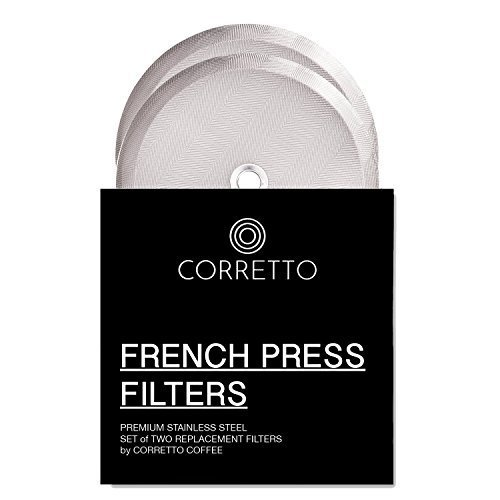 2Universal French Press Ersatz Filter für Kaffeebereiter 34oz von Corretto Kaffee–2fein gewebte Edelstahl Bildschirm für Bodum, Kona und die meisten Kaffeebereiter French Press–10,2cm breit