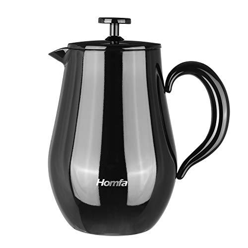 HOMFA French Press 1 Liter Kaffeebereiter Teebreiter doppelwandig mit Warmhaltefunktion Kaffeekanne aus Edelstahl Französische Kaffeepresse Schwarz