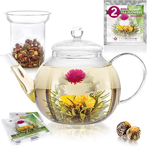 für 6-8 Tassen – Teabloom Set Glas-Teekanne & Gläsernes Teeei – am Besten für lose Teeblätter oder Blütentee – 2 Teeblumen enthalten 1200 ml Teekanne