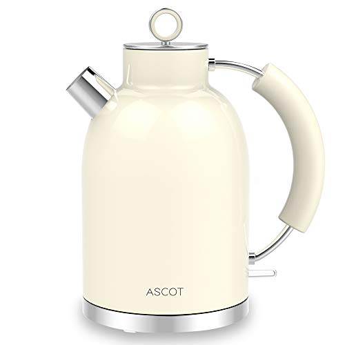 Elektrischer Wasserkocher, ASCOT Edelstahl-Wasserkocher, 2200 W leiser Schnellkochkessel, 1,6 l kabelloser Teekessel, Trockengehschutz und automatische Abschaltung,beige