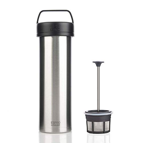 ESPRO 17678 Reise-French Press Ultralight, Mini Coffee Maker mit Thermo-Funktion, Kaffee, Edelstahl, to go, 475ml