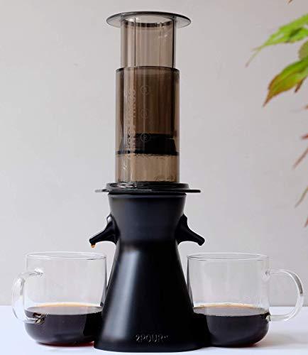 2POUR® Der Neue Dual-Press Zubehör für den Aeropress® Kaffeemaschine, Delter Kaffeebereiter oder Pourover Black