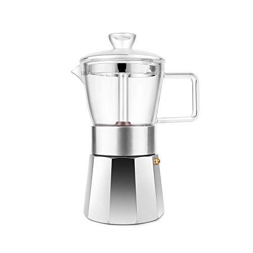 Geesta Espresso-Kaffeemaschine Glas Herdplatte Mokka Pot 6 Tassen