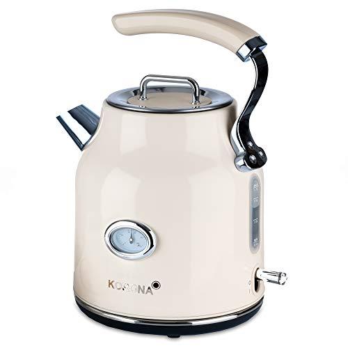 Korona 20666 elektrischer Wasserkocher, Creme, 1,7 Liter, 2.200 Watt, Kalkfilter, Dampf-Stopp, Trockengeh-Schutz, heißes Wasser, Tee und Kaffee