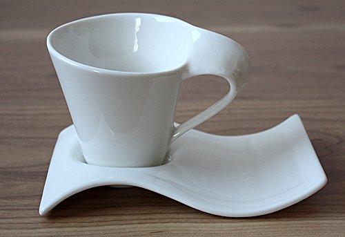12tlg. Kaffeeservice Kaffee Service Tassen Untertasse als Kuchenteller in Weiß L016
