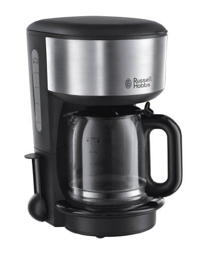 Russell Hobbs Glas-Kaffeemaschine Oxford, 1.25l, Brausekopf-Technologie, Wasserstandanzeige, Glaskanne,  1000 Watt, 20130-56, Edelstahl/schwarz