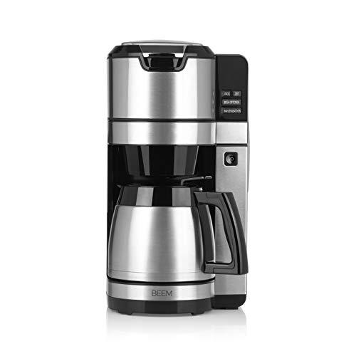 Thermo | Permanentfilter | Edelstahl | 1,25 l Thermokanne | 24-Stunden-Timer |1.100 W NEU 2019 – BEEM FRESH-AROMA-PURE Filterkaffeemaschine mit Mahlwerk