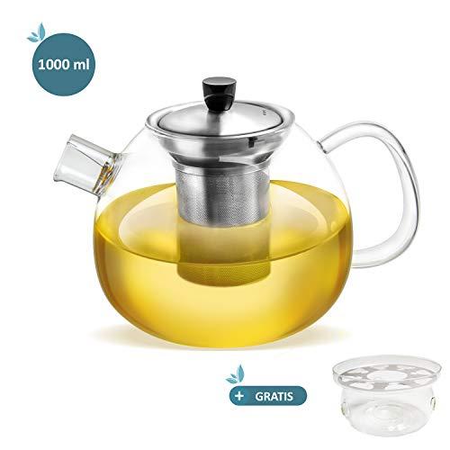 hitzebeständiges Borosilikatglas – Plus: Gratis Stövchen zum Warmhalten – smartpeas Teekanne aus Glas – herausnehmbarer Edelstahlfilter & Ausguss-Filter – 1000 ml Fassungsvolumen