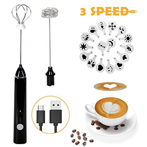 Shayson Elektrischer Milchaufschäumer,USB Wiederaufladbar Milchaufschäumer,2 rostfreie Schneebesen,3-Gang verstellbarer Mini-Mixer,perfekt für Kaffee, Latte, Cappuccino