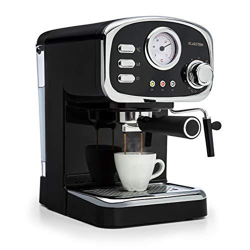 Klarstein Espressionata Gusto – Espressomaschine, Retro-Design, 1100 W Stromverbrauch, 15 Bar Druck, 1,25 Liter abnehmbarer Wassertank, Dampfdüse, Temperaturanzeige, Siebeinsatz, schwarz