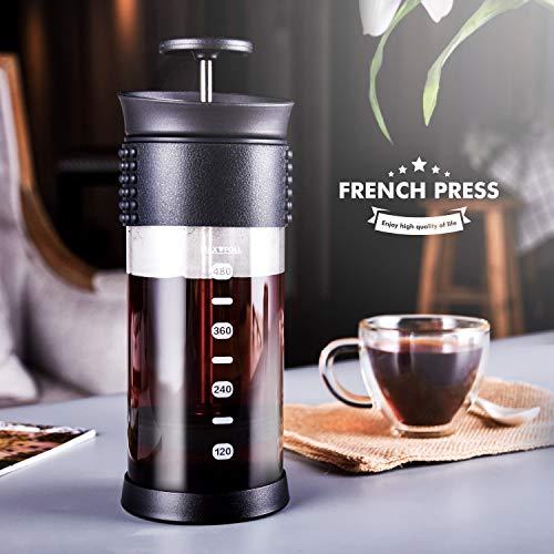 SULIVES Glass French Press Kaffee- und Teezubereiter mit hitzebeständiger Kaffeekanne 480 ml / 4 Tassen, schwarz aus Edelstahl-schwarz