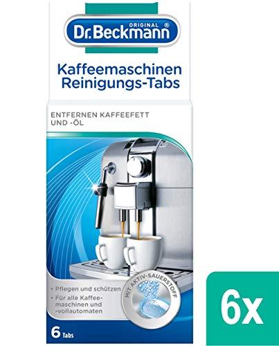 Dr. Beckmann Kaffeemaschinen Reinigungs-Tabs | entfernen Kaffeefett und -öl | mit Aktiv-Sauerstoff, 6er Pack 6x 6 Tabs