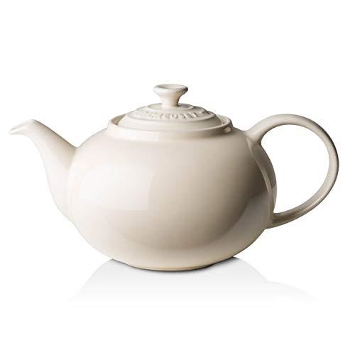 Le Creuset Klassische Teekanne, Rund, 1,3 Liter, Steinzeug, creme