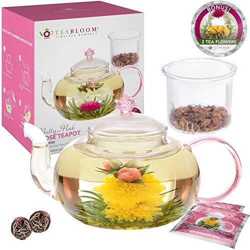 1000 ml Borosilikatglas Teekanne, 2 Blütentee Blumen, Glas Tee-Ei – Herd- und Mikrowellensicher – Thermoschock beständig – Teabloom Pretty in Pink Rosen Teekanne