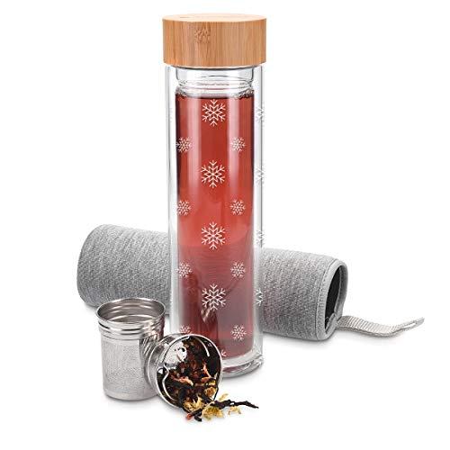 doppelwandig aus Borosilikatglas – Trinkflasche Schneeflocken Design – 500ml Tee Flasche Teekanne to go – Navaris Teeflasche aus Glas mit Sieb