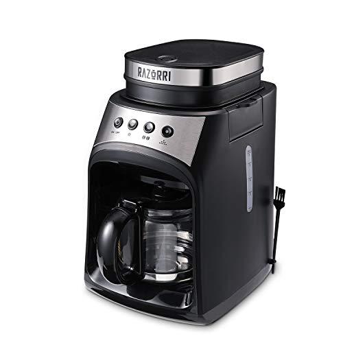 Razorri RCGE600A Kaffeemaschine | Filterkaffeemaschine mit Mahlwerk | Warmhalteplatte & Tropf-Stopp Funktion | 560ml Glaskanne, bis 4 Tassen | 175 x 280 x 250mm | 600 W, 60Hz
