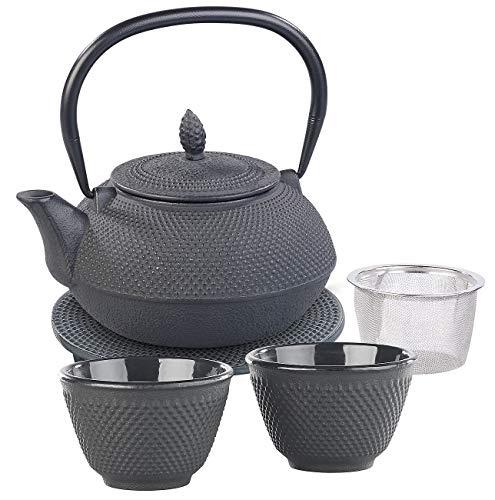 Rosenstein & Söhne Tee Set: Asiatische Teekanne, Untersetzer und 2 Becher aus Gusseisen, schwarz Teekanne Guss