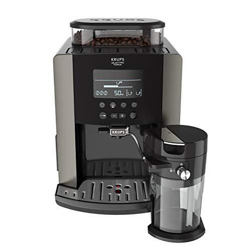 Krups EA819E Arabica Latte Quattro Force Kaffeevollautomat 1450 Watt, Wassertankkapazität: 1,7 Liter, Pumpendruck: 15 bar, LCD-Display Platin-schwarz