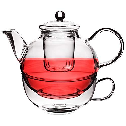 Argon Tableware Glas Einzel-Teetopf, Tasse und Sieb Set – 550 ml Teekanne