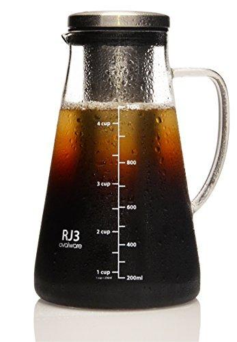1,0L / 34oz Ovalware RJ3 Brühglaskaraffe mit abnehmbarem Edelstahlfilter – Cold Brew Coffee Maker – Luftdichte Kaffeemaschine für kalten Kaffee und Teesieb mit Ausguss