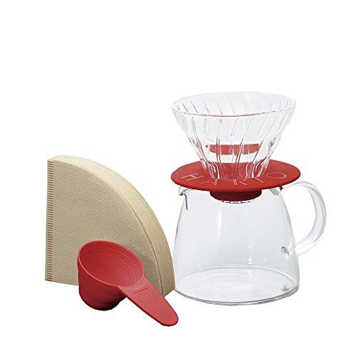 """Hario V60 Kaffeezubereitungsset """"Clair"""" aus Glas – 3-teilig, Größe 1-2 Tassen coral"""