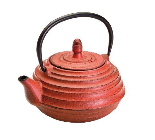 IBILI Teekanne-Set Oriental-Ceylan mit Filter 0,7 l aus Gusseisen, schwarz/rot, 17 x 16 x 10 cm, 3-Einheiten